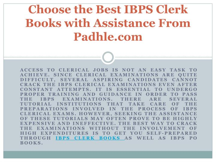 choose the best ibps clerk books with assistance from padhle com n.