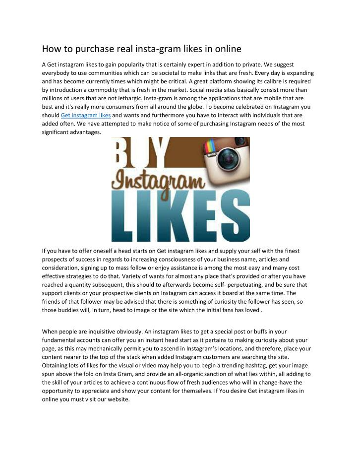 How to purchase real insta-gram likes in online