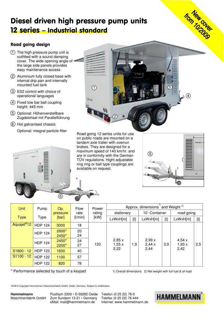 Diesel driven high pressure pump units