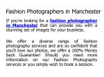 fashion photographers in manchester