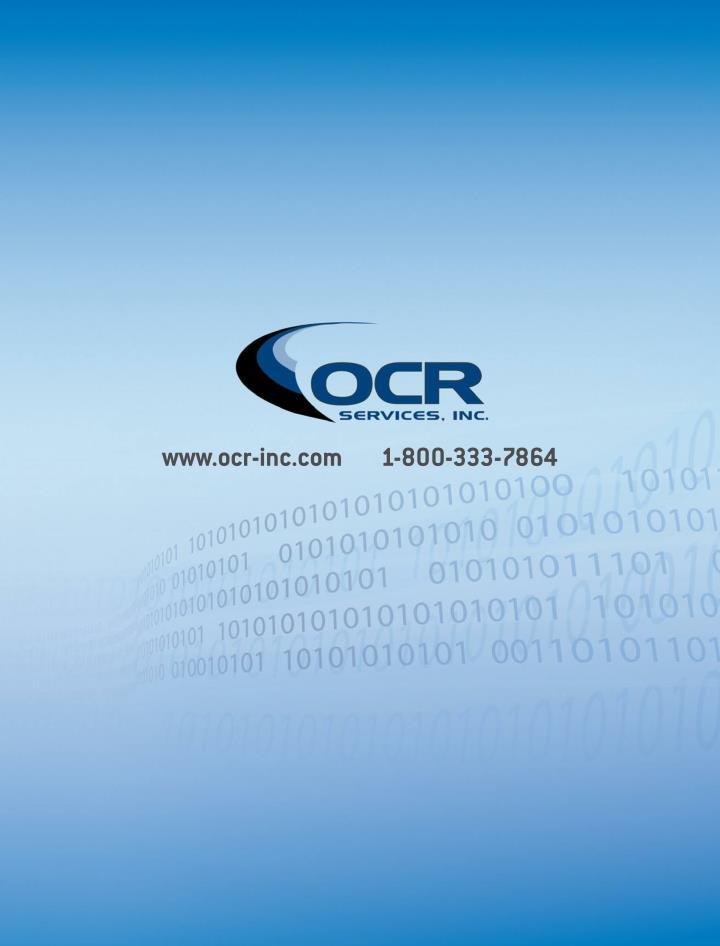 www.ocr-inc.com        1-800-333-7864