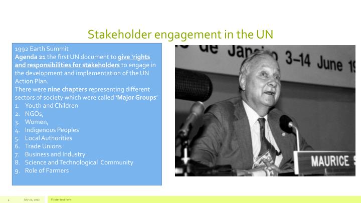 Stakeholder engagement in the UN