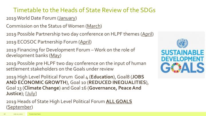 Timetable to the Heads of State Review of the SDGs