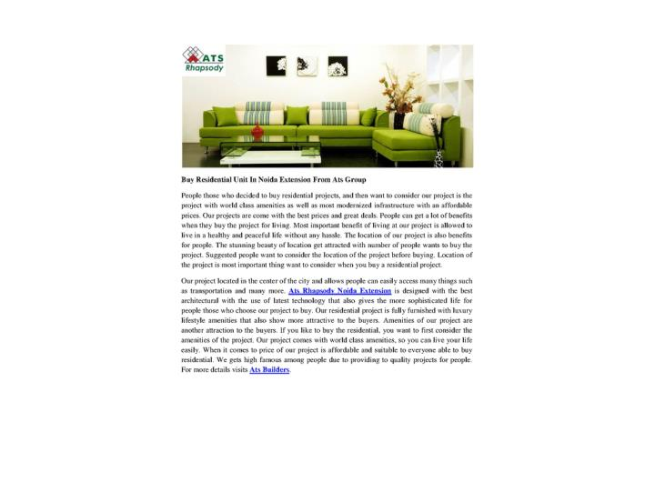 Buy residential unit in noida extension from ats group