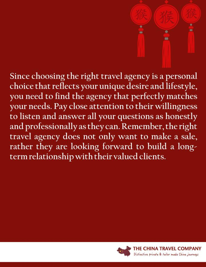 Since choosing the right travel agency is a personal
