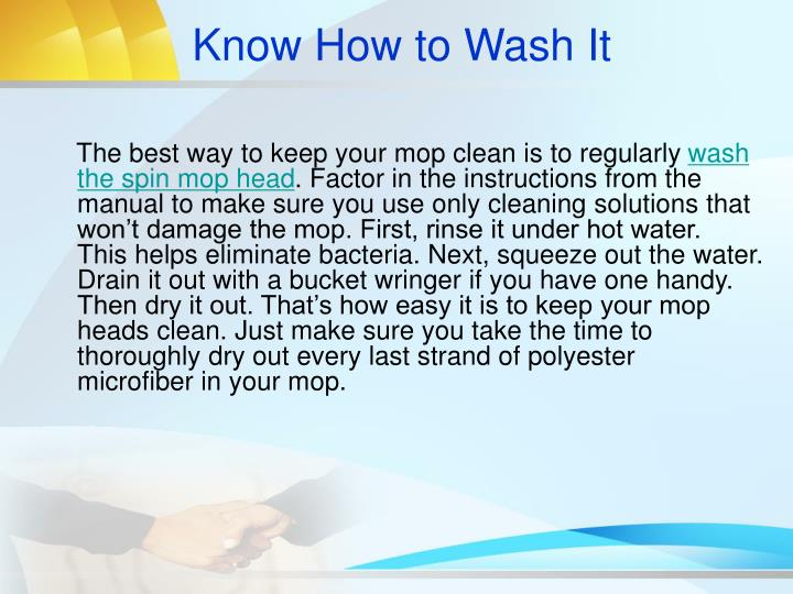 Know How to Wash It