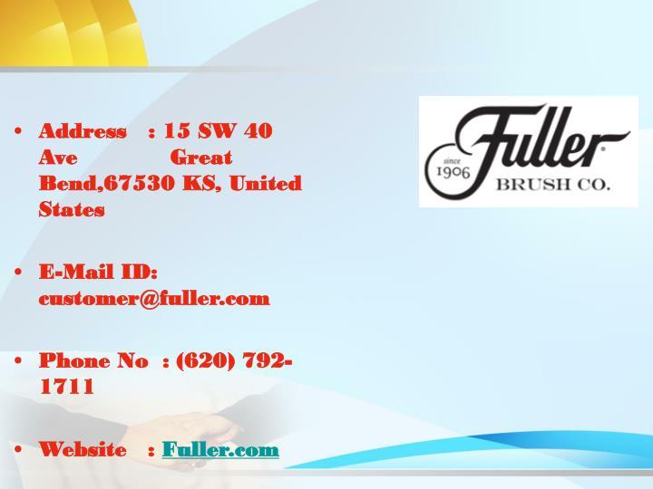 Address   : 15 SW 40
