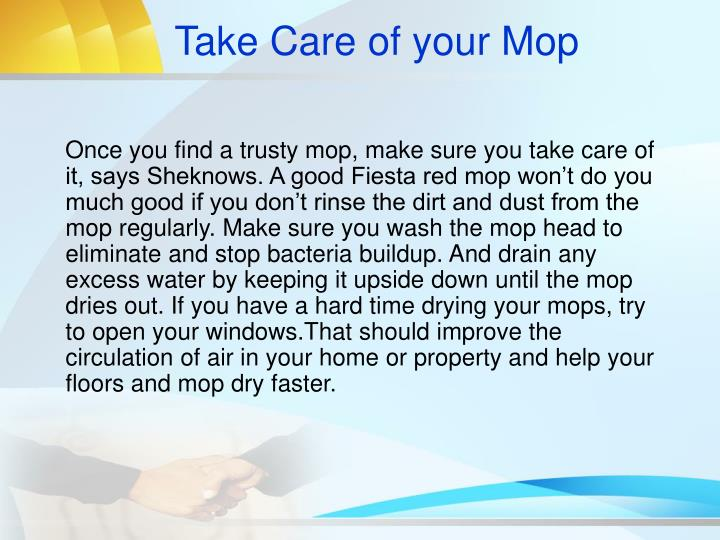 Take Care of your Mop