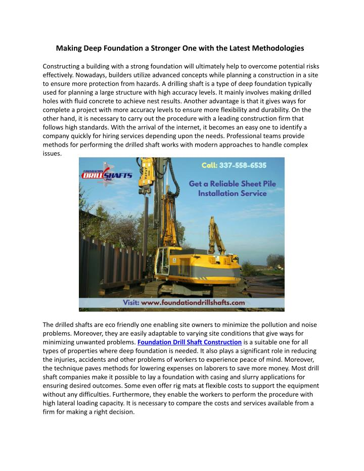 Making Deep Foundation a Stronger One with the Latest Methodologies