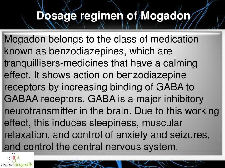 Dosage regimen of Mogadon