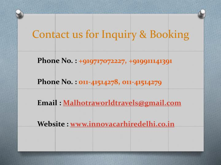 Contact us for Inquiry & Booking