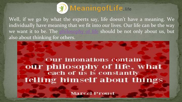 Well, if we go by what the experts say, life doesn't have a meaning. We individually have meaning ...