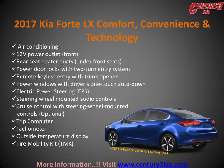 2017 Kia Forte LX Comfort, Convenience & Technology