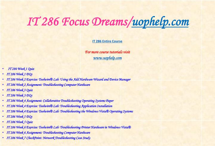 It 286 focus dreams uophelp com1