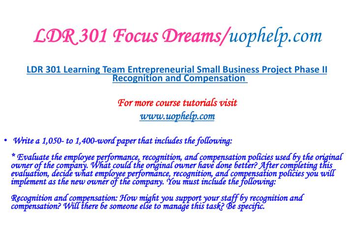 LDR 301 Focus Dreams/