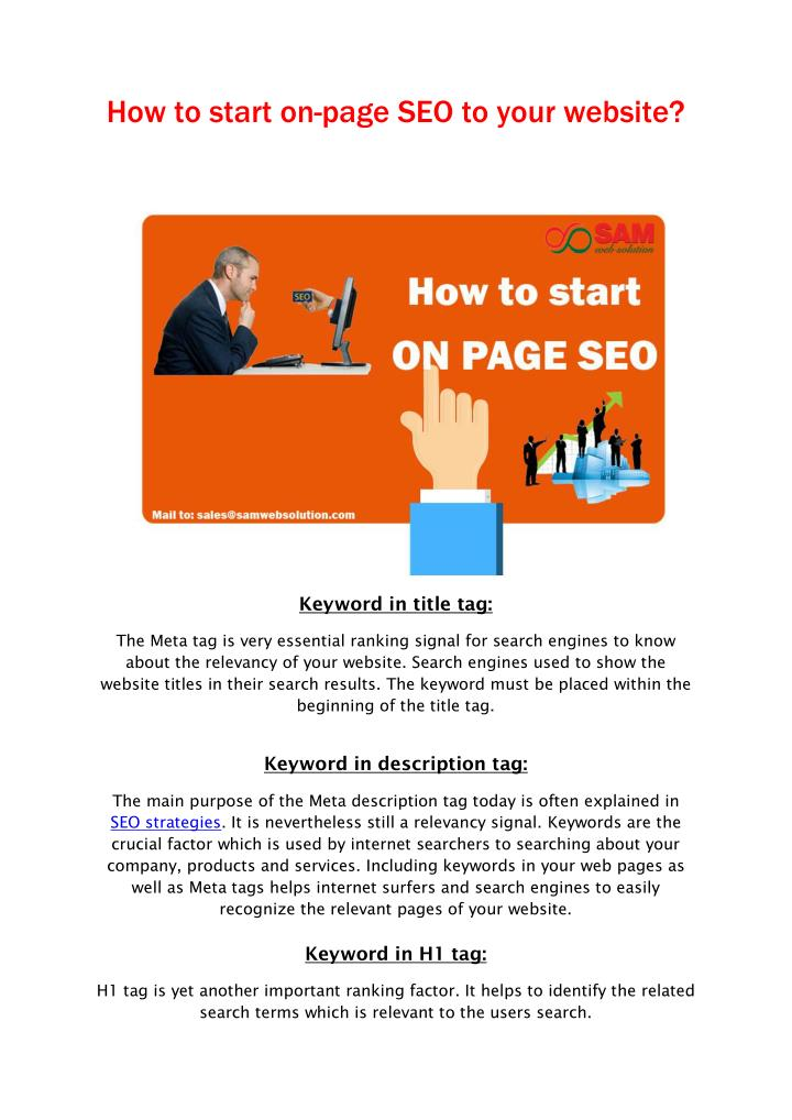 How to start on-page SEO to your website?