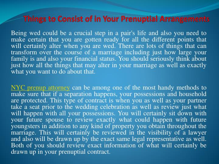 things to consist of in your prenuptial arrangements