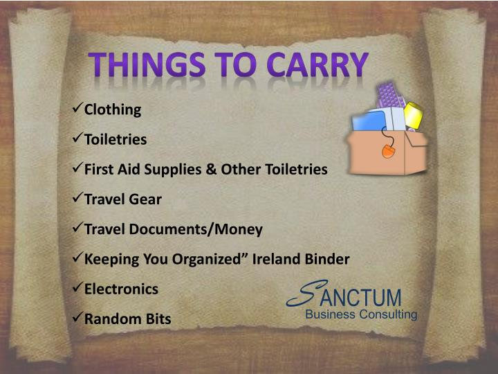 Things to carry