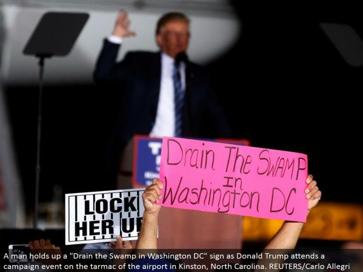 "A man holds up a ""Deplete the Swamp in Washington DC"" sign as Donald Trump goes to a battle occasion on the landing area of the airplane terminal in Kinston, North Carolina. REUTERS/Carlo Allegri"