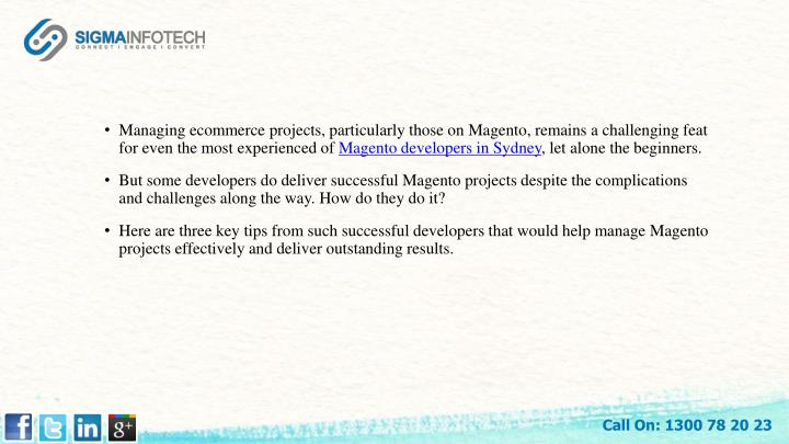 Managing ecommerce projects, particularly those on