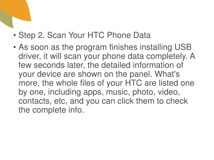 Step 2. Scan Your HTC Phone Data