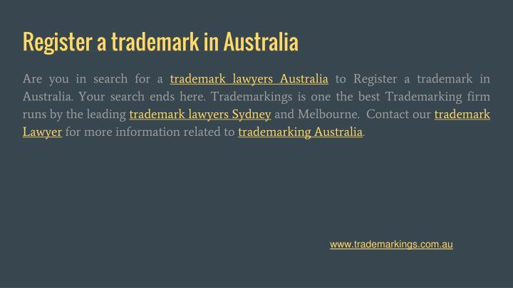 Register a trademark in Australia