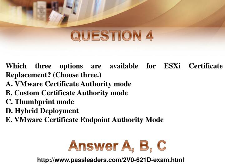 Which three options are available for ESXi Certificate Replacement? (Choose three.)