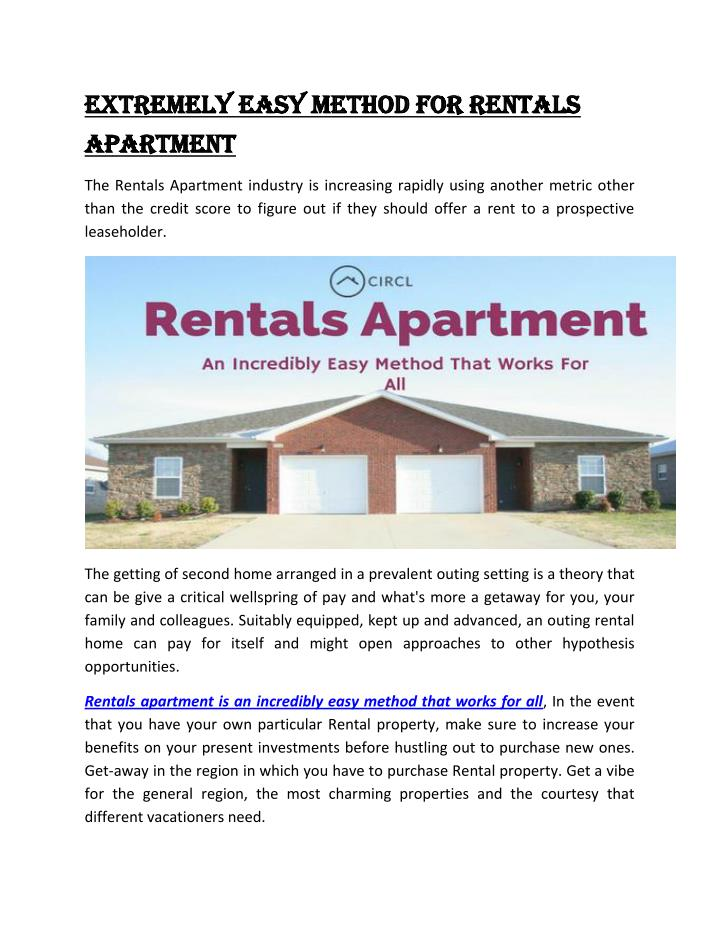Extremely easy method for Rentals
