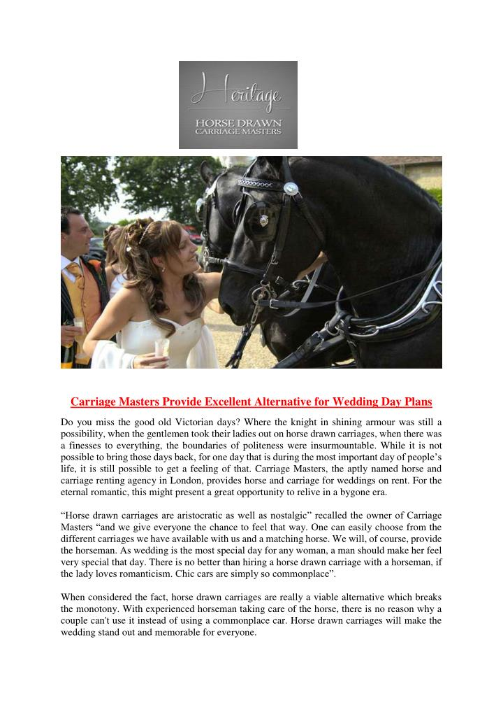 Carriage Masters Provide Excellent Alternative for Wedding Day Plans