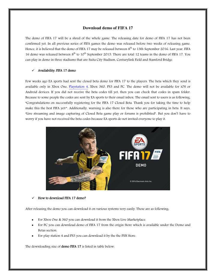 Download demo of FIFA 17