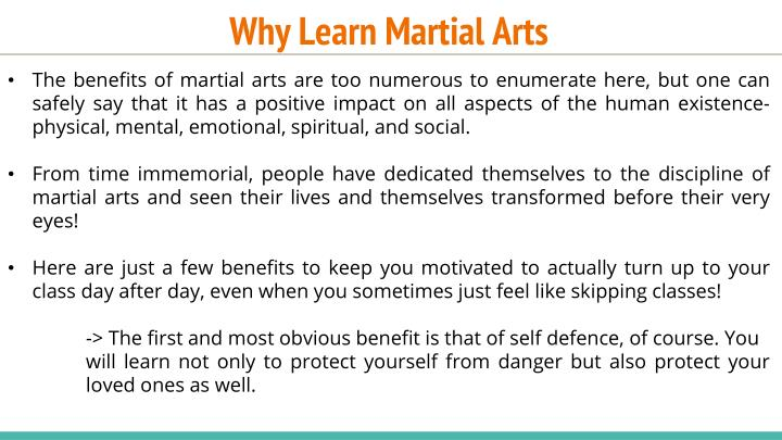Why learn martial arts