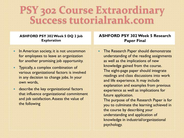 PSY 302 Course Extraordinary  Success tutorialrank.com