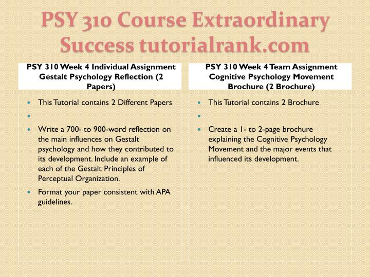 PSY 310 Week 4 Individual Assignment Gestalt Psychology Reflection (2 Papers)