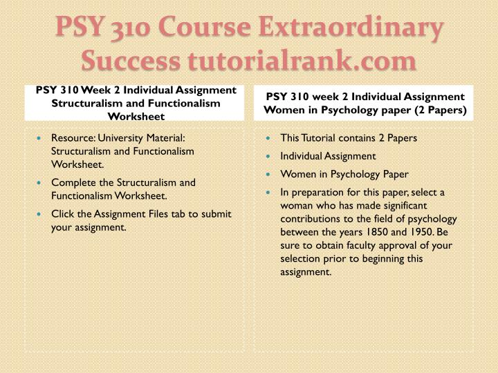 PSY 310 Week 2 Individual Assignment Structuralism and Functionalism Worksheet