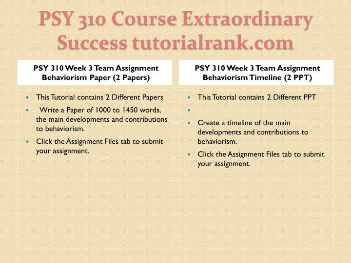 PSY 310 Week 3 Team Assignment Behaviorism Paper (2 Papers)