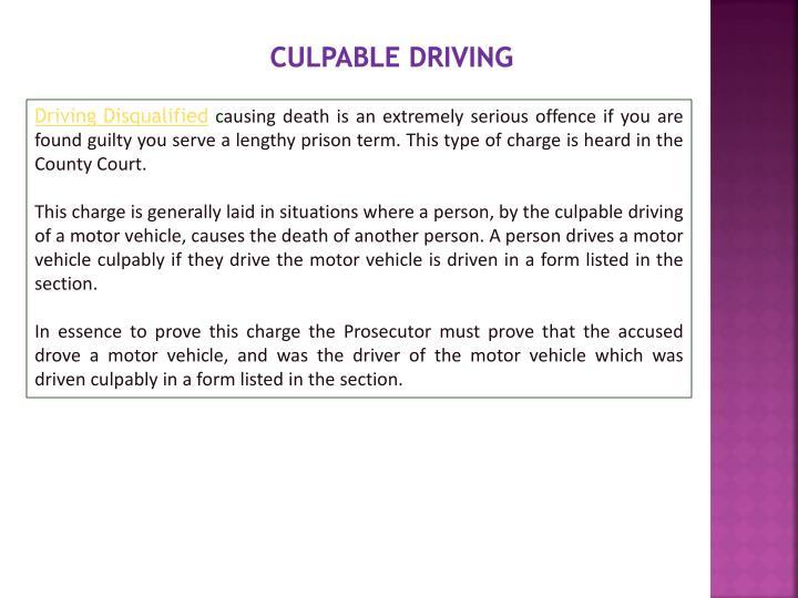 Culpable driving