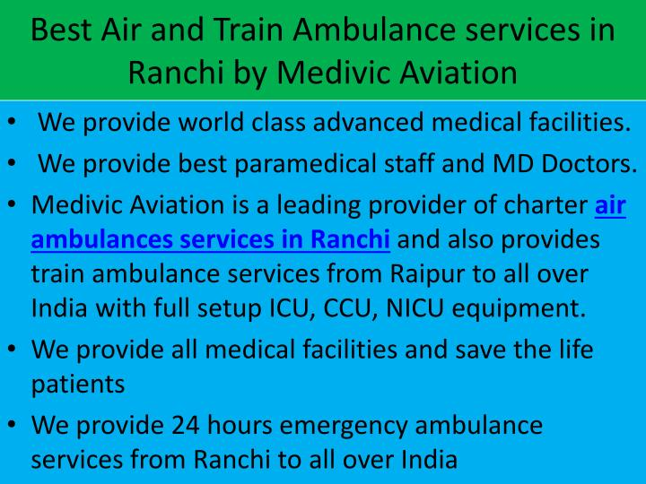 Best Air and Train Ambulance services in