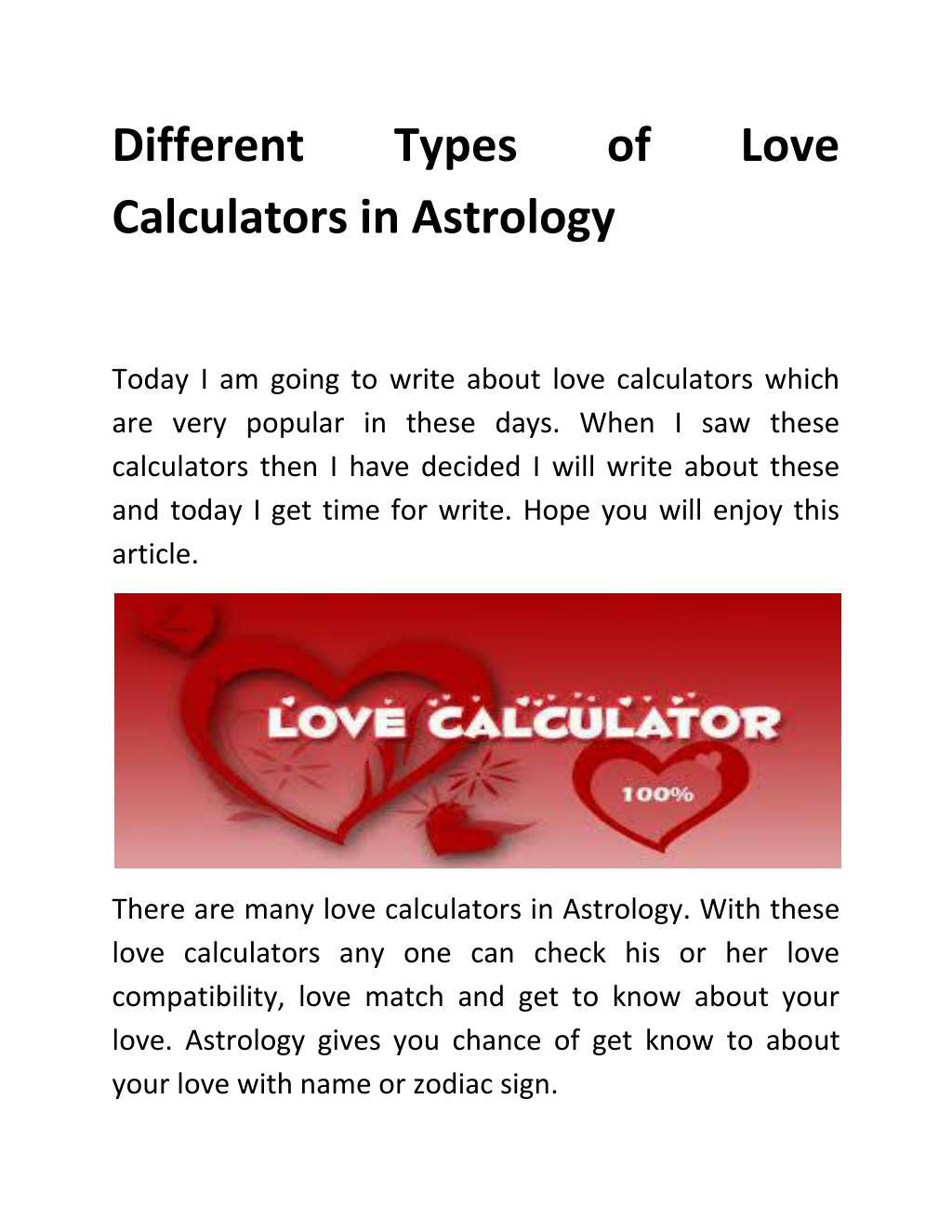 Diffe Types Of Love Calculators In Astrology Point Ppt Presentation