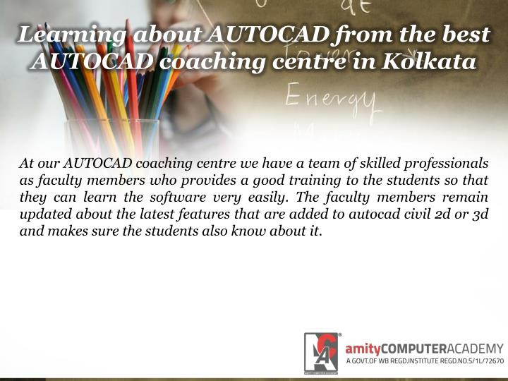 Learning about autocad from the best autocad coaching centre in kolkata