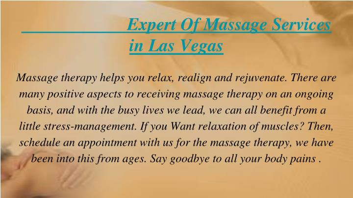 Expert of massage services in las vegas