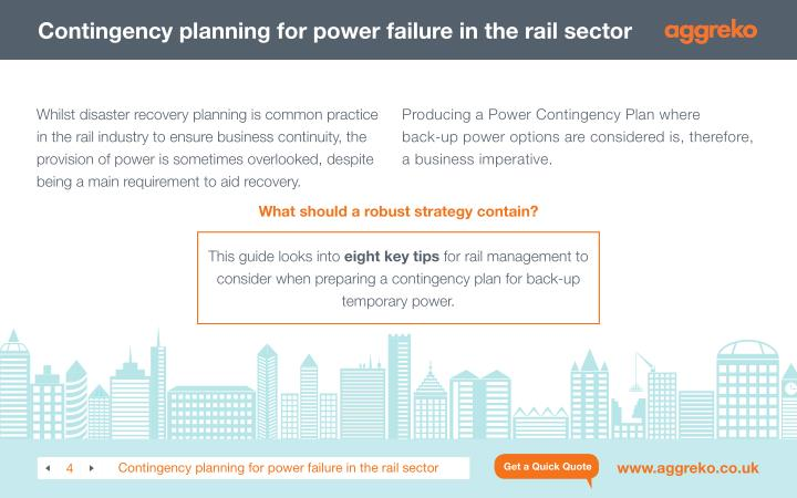 Contingency planning for power failure in the rail sector
