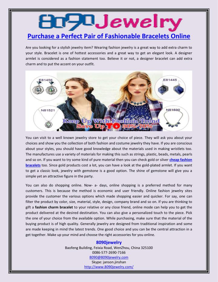 Purchase a Perfect Pair of Fashionable Bracelets Online