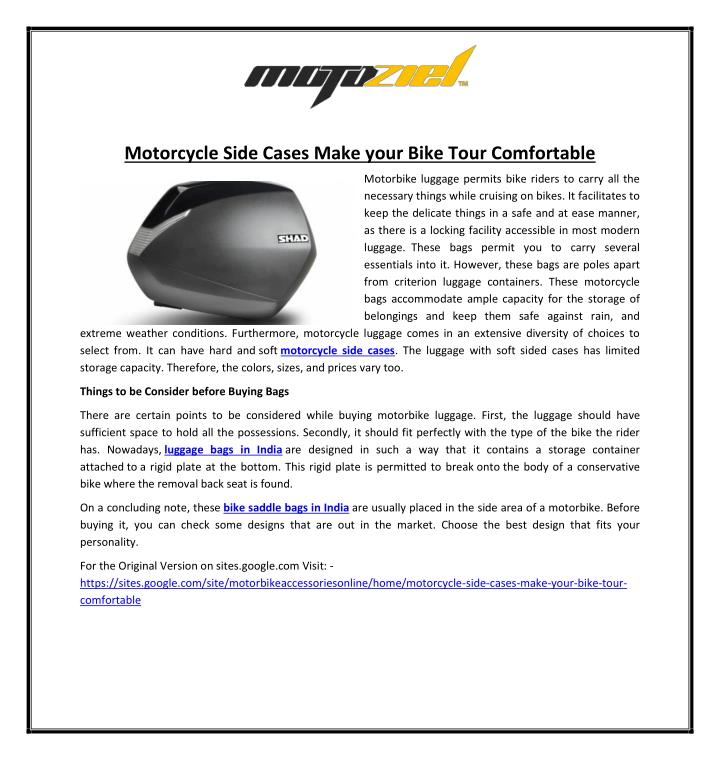 Motorcycle Side Cases Make your Bike Tour Comfortable