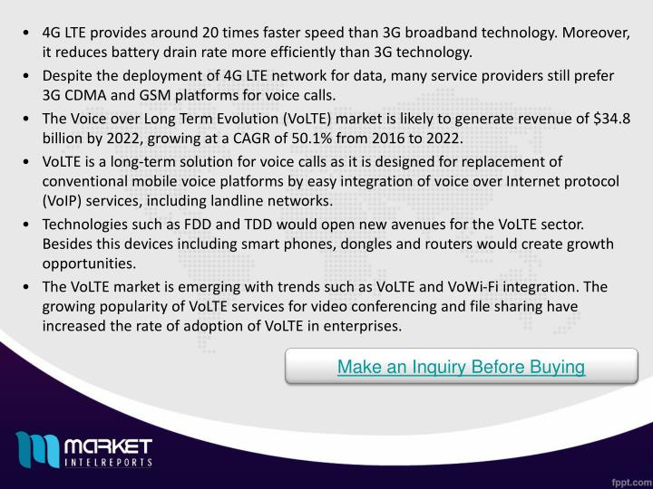 4G LTE provides around 20 times faster speed than 3G broadband technology. Moreover, it reduces batt...