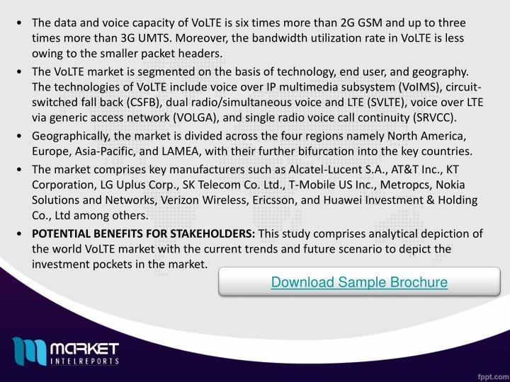 The data and voice capacity of VoLTE is six times more than 2G GSM and up to three times more than 3G UMTS. Moreover, the bandwidth utilization rate in VoLTE is less owing to the smaller packet headers.
