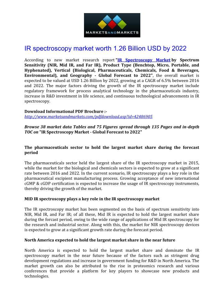 IR spectroscopy market worth 1.26 Billion USD by 2022