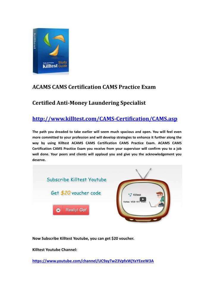 ACAMS CAMS Certification CAMS Practice Exam