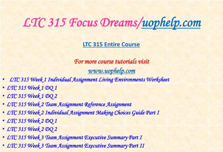 Ltc 315 focus dreams uophelp com1