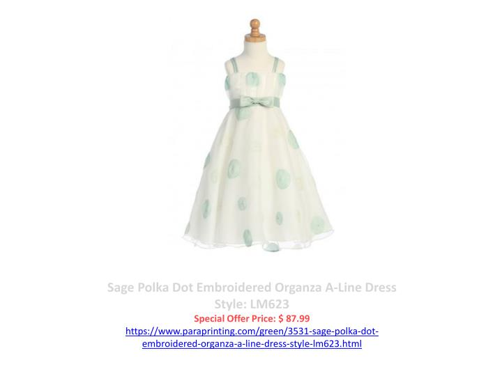 Sage Polka Dot Embroidered Organza A-Line Dress Style: LM623