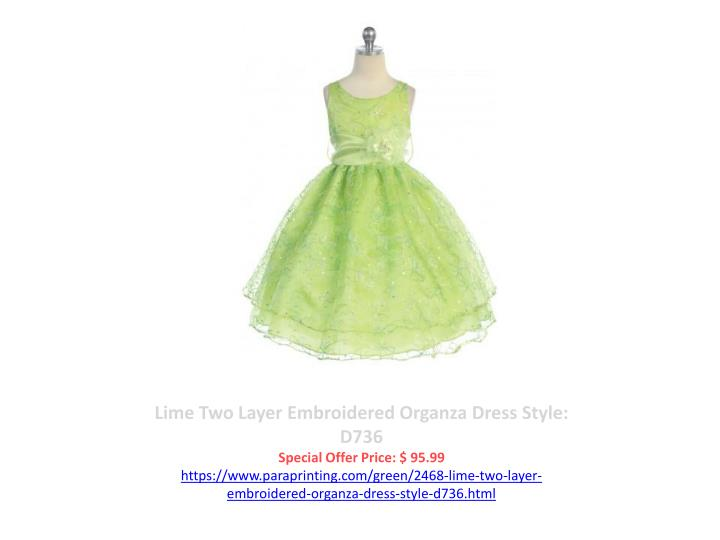 Lime Two Layer Embroidered Organza Dress Style: D736